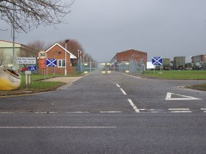 Entrance to Horne Barracks, Larkhill, England; photo Trish Steel. A world apart.