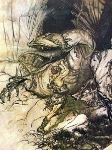 Arthur Rackham's version of the Wagnerian dragon Fafner. Martin's scope is arguably Wagnerian.