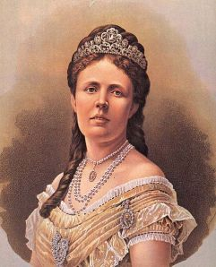 "Queen Sophia of Sweden and Norway, wearing a few baubles. Date is 1872, same as the publication of ""The Eustace Diamonds."" This is the standard aristocratic styling of the era -- pile on the pearls."