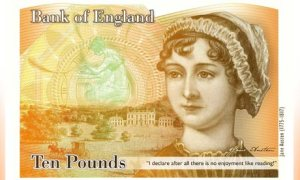 It's come to this: Jane on the currency. Projected 10-pound banknote, courtesy of allbanknotes.com