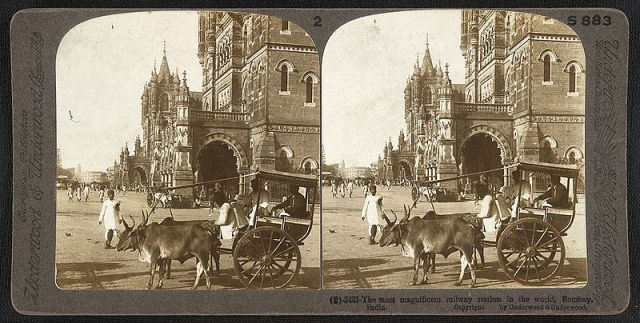 Stereoscopic view of Victoria Terminus, completed in 1888 in what was then Bombay.