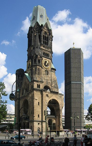 Kaiser Wilhelm Memorial Church in Berlin, with new spire built in the 1960s.